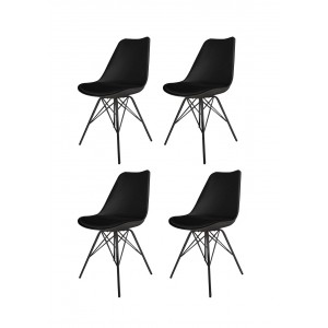 Lot de 4 chaises NOIRES ET METAL - style scandinave vintage  -  pieds design  métal et assise confortable -  TOMY