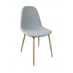 Lot de 4  chaises tissu GRIS - design scandinave vintage - pieds métal imitation bois - EMMA