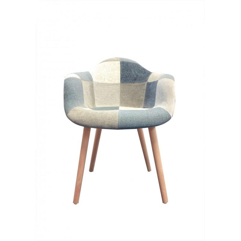 fauteuil tissu patchwork bleu beige gris azur. Black Bedroom Furniture Sets. Home Design Ideas