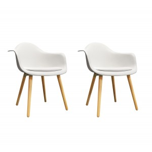 Lot de 2 chaises BLANCHES accoudoir  - fauteuils design vintage scandinave - pieds bois - confortable et robuste - HANS