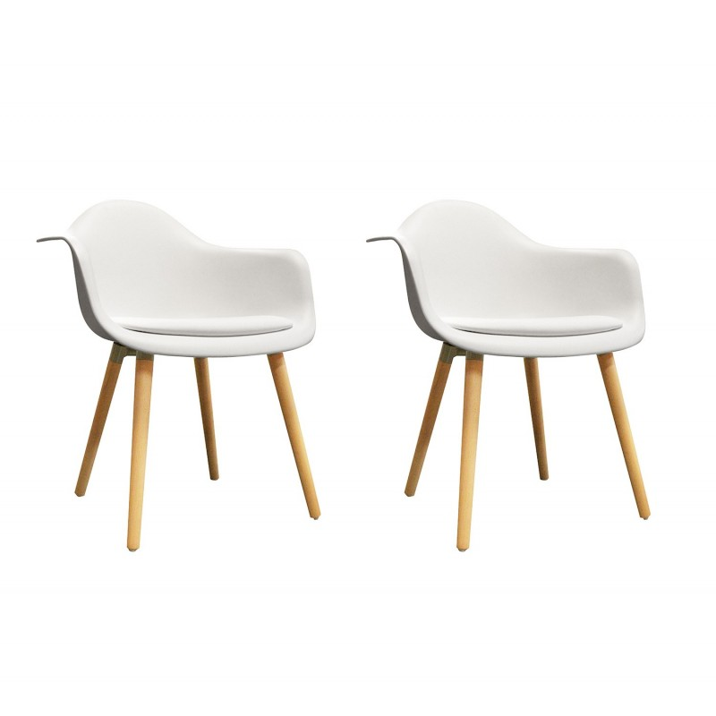 lot de 2 chaises blanches avec accoudoir style scandinave. Black Bedroom Furniture Sets. Home Design Ideas
