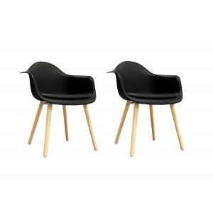 Lot de 2 chaises NOIRES accoudoir  - fauteuils design vintage scandinave - pieds bois - confortable et robuste - HANS