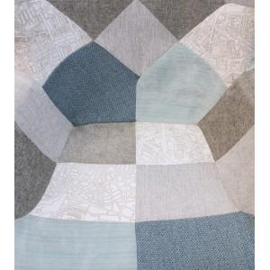 Fauteuil Patchwork Scandinave Tissus BLEU BEIGE GRIS - décoration Vintage Cosy  –  BLUE