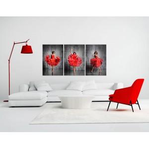 Tableau decoratif plexiglas verre acrylique - photo décoration ROUGE  - triptyque - DANSEUSE