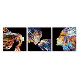 Tableau plexiglas verre acrylique -Décoration peinture multicolore  - triptyque abstrait - FAMILLE I