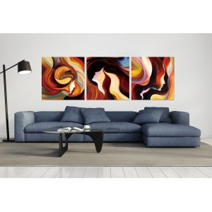 Tableau plexiglas verre acrylique -Décoration peinture personnages multicolore  - triptyque contemporain - FAMILLE II