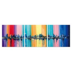 Tableau plexiglas verre acrylique -Décoration murale Ville multicolore  - triptyque contemporain - CITY