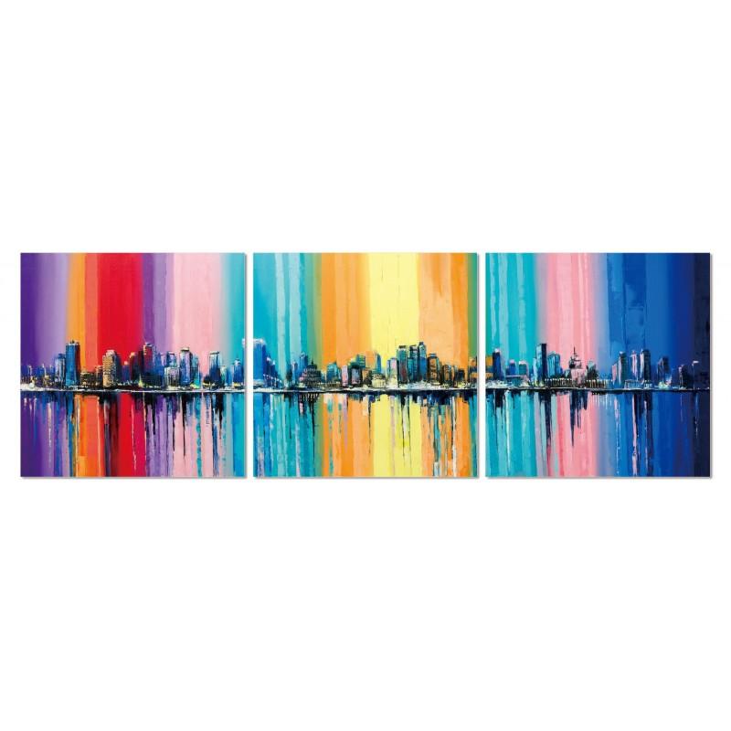Tableau Plexiglas Verre Acrylique  Décoration Murale Ville Multicolore    Triptyque Contemporain   CITY