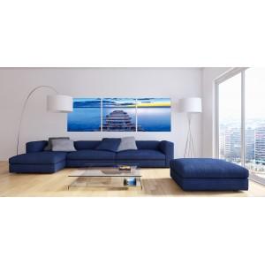 Tableau artistique plexiglas verre acrylique - Déco photo murale Ponton - triptyque - OCEAN