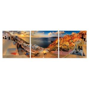 Tableau photo plexiglas verre acrylique - Décoration murale Grèce - triptyque - SANTORIN
