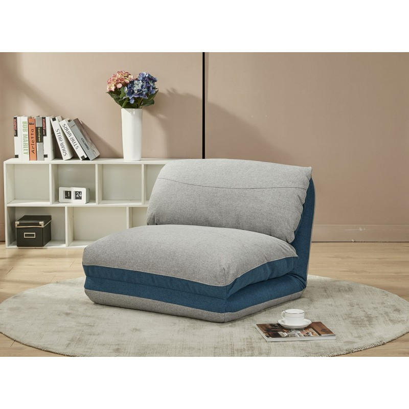 chauffeuse fauteuil convertible gris bleu 3 positions zen. Black Bedroom Furniture Sets. Home Design Ideas