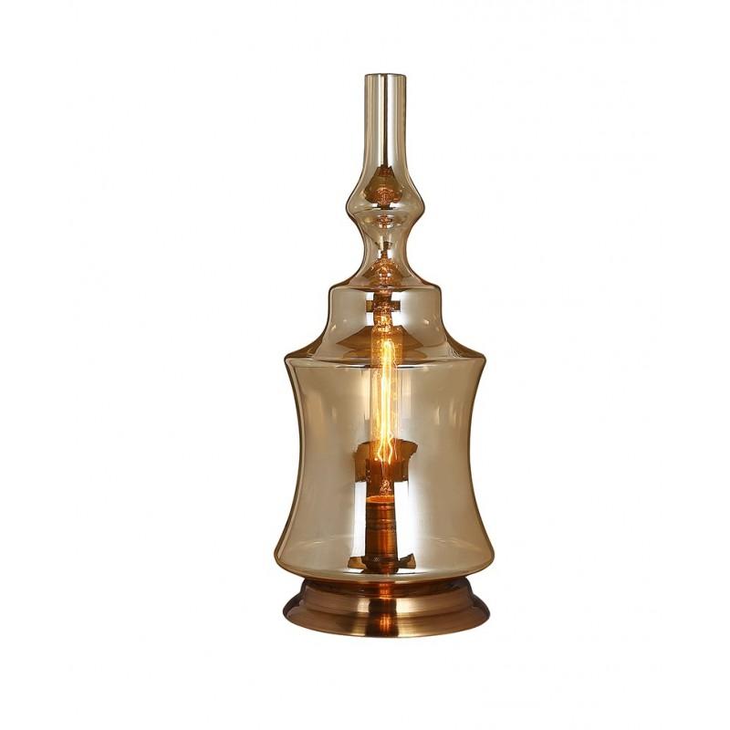 Lampe à poser en verre fumé transparent large–  design vintage industriel  – PETROL 01