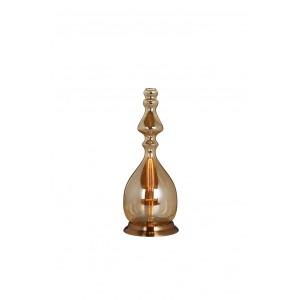 Lampe à poser en verre fumé transparent fine – design vintage industriel  – PETROL 02