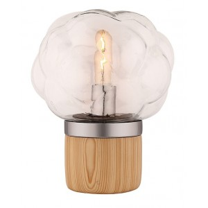 Lampe à poser en verre transparent et socle en bois - design nordique – BUBBLE LIGHT