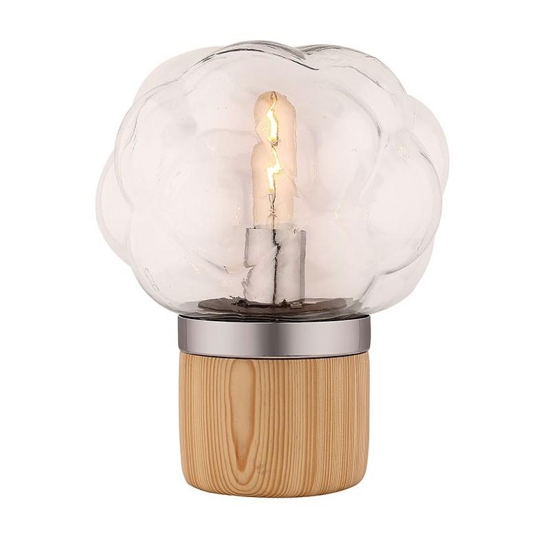 Lampe à poser en verre transparent et socle en bois - design nordique – BUBBLE LIGHT