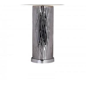 Lampe à poser en verre effet acier design et abat-jour TAUPE - style classique moderne – LISA