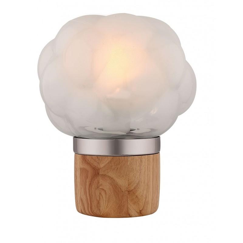 Lampe à poser en verre opaque et socle en bois - design nordique – BUBBLE OPAQUE