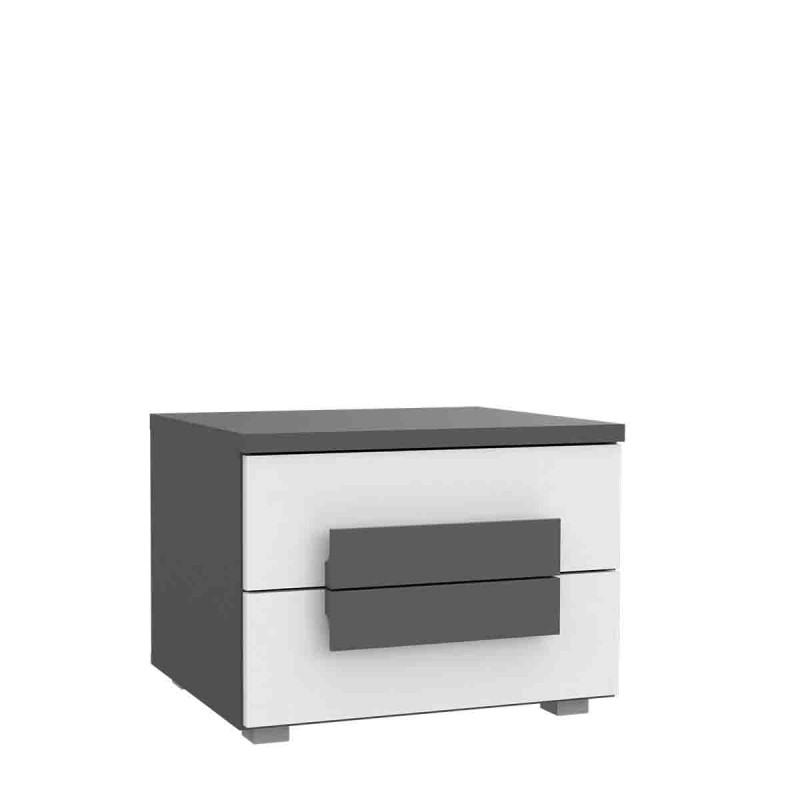 Table de chevet gris et blanc 2 tiroirs - rangement chambre enfant - LIBELLE