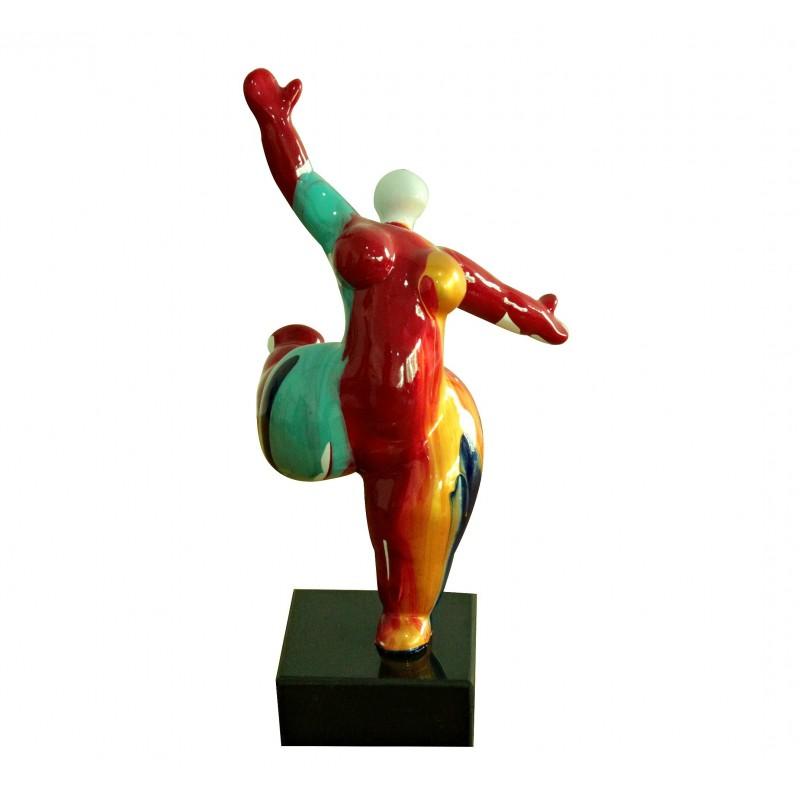 Statue femme figurine danseuse rouge multicolore style pop art