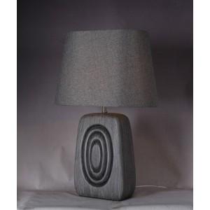 Lampe à poser effet bois GRIS BRUN abat-jour - luminaire décoratif style vintage années 50/60 - CIRCLE