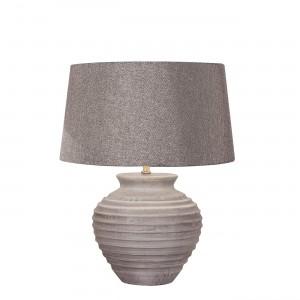 Lampe à poser béton abat-jour tissu gris anthracite - design classique style - ETNA