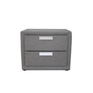 Table de nuit 2 tiroirs meuble de chevet tissu GRIS - caisson rangement contemporain - DREAM