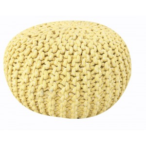 Pouf TRICOT ROND JAUNE - mailles tressées coton - coussin décoratif - BULLE JAUNE