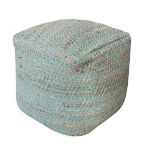 Pouf bleu beige carré style bohème - matières naturelles coton et chanvre - IBIZA BLUE