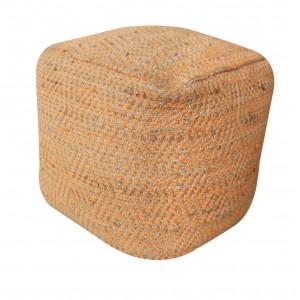 Pouf orange beige carré style bohème - matières naturelles coton et chanvre - IBIZA ORANGE