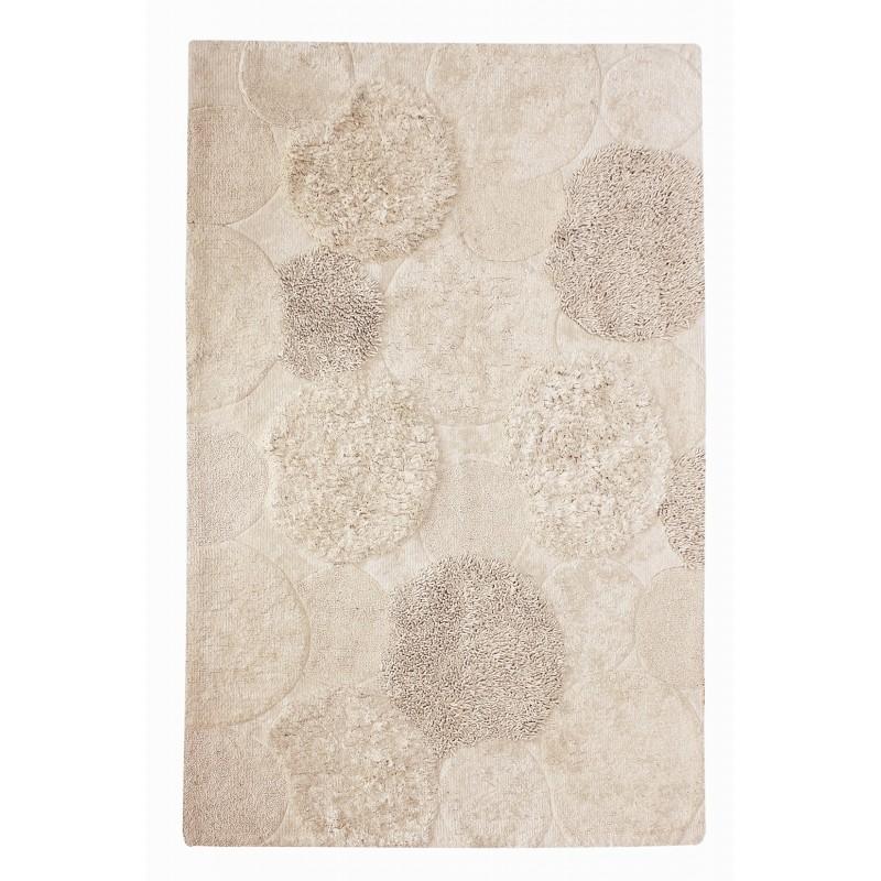 Tapis BLANC/ECRU 160x230 rectangulaire coton texturé - design contemporain - toucher doux - RAMA
