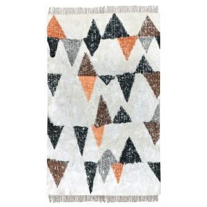 Tapis blanc multicolore 120x180 rectangulaire coton doux - motifs géométriques - DEVA