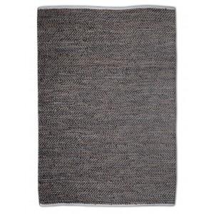 Tapis BRUN 120x180 rectangulaire CUIR et CHANVRE - matières recyclées - INDRA