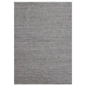 Tapis BEIGE 120x180 rectangulaire CUIR et CHANVRE - matières recyclées - INDRA