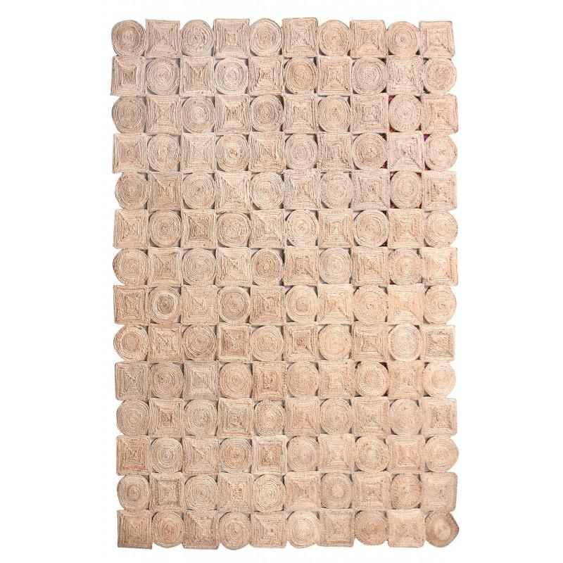 Tapis BEIGE NATUREL 120x180 rectangulaire CHANVRE - style bohème chic  - GOA