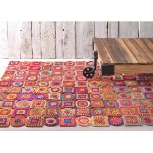 Tapis multicolore 120x180 rectangulaire en matières recyclées - style bohème chic  - GOA