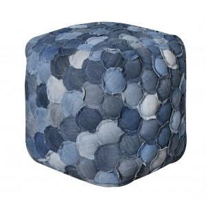 Pouf carré bleu - patchwork JEANS - coton denin - BLUE JEAN
