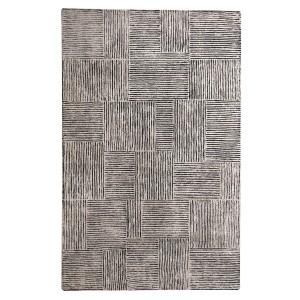 TAPIS beige/noir 160x230 rectangulaire laine - style contemporain - toucher doux - TARA