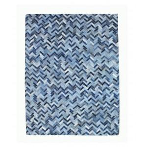 TAPIS bleu 120x180 patchwork jeans rectangulaire - denin recyclées - VALI