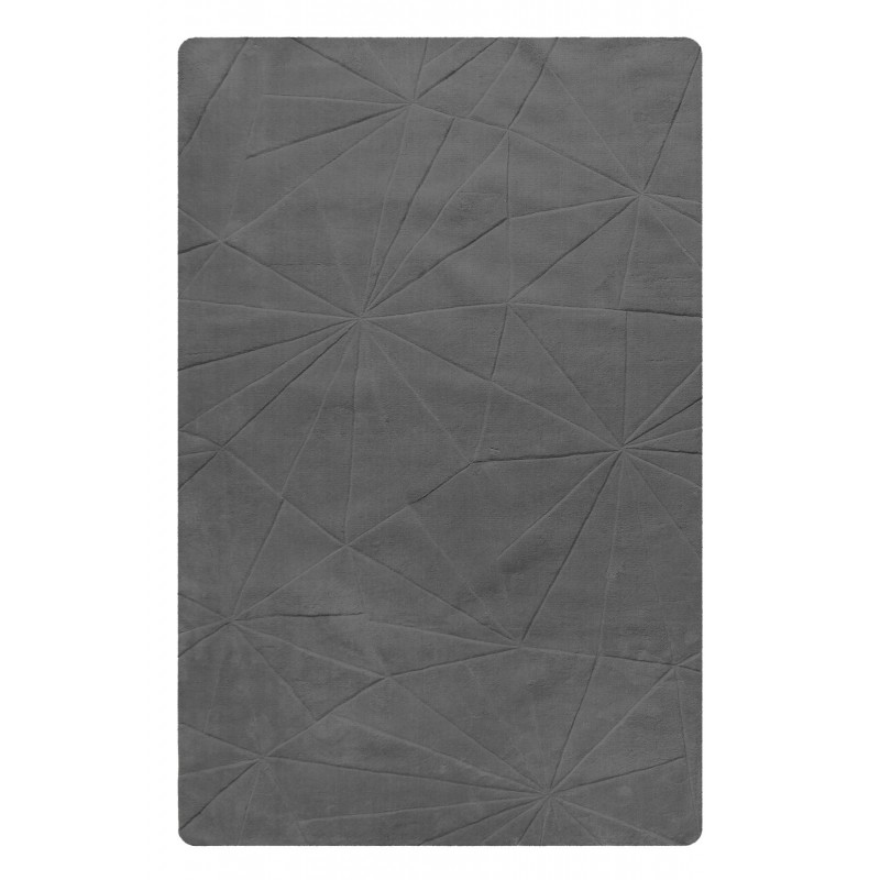 TAPIS gris rectangulaire 160x230 LAINE - texture douce - design contemporain - DELHI
