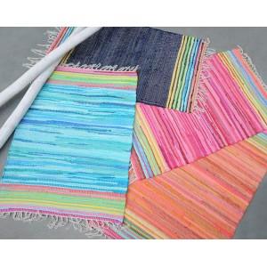 TAPIS rectangulaire 60 x 90  bleu - coton recyclé - tissé à la main - MINI BLUE