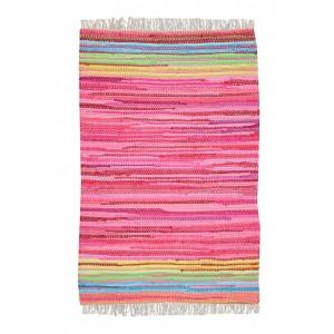 TAPIS rectangulaire 60 x 90 rose - coton recyclé - tissé à la main - MINI PINK