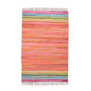 TAPIS rectangulaire 60 x 90  orange - coton recyclé - tissé à la main - MINI ORANGE