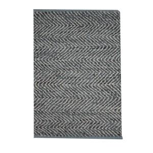 TAPIS GRIS rectangulaire 60 x 90 CUIR - ethnique bohème chic - INDIA