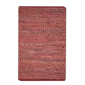 TAPIS ROUGE rectangulaire 60 x 90 CUIR - ethnique bohème chic - INDIA