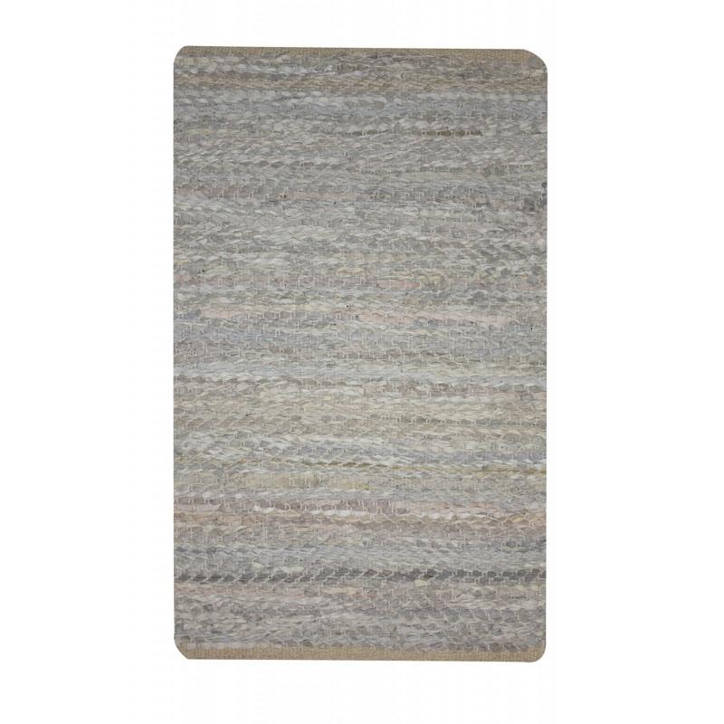 TAPIS IVOIRE BEIGE rectangulaire 60 x 90 CUIR - ethnique bohème chic - INDIA