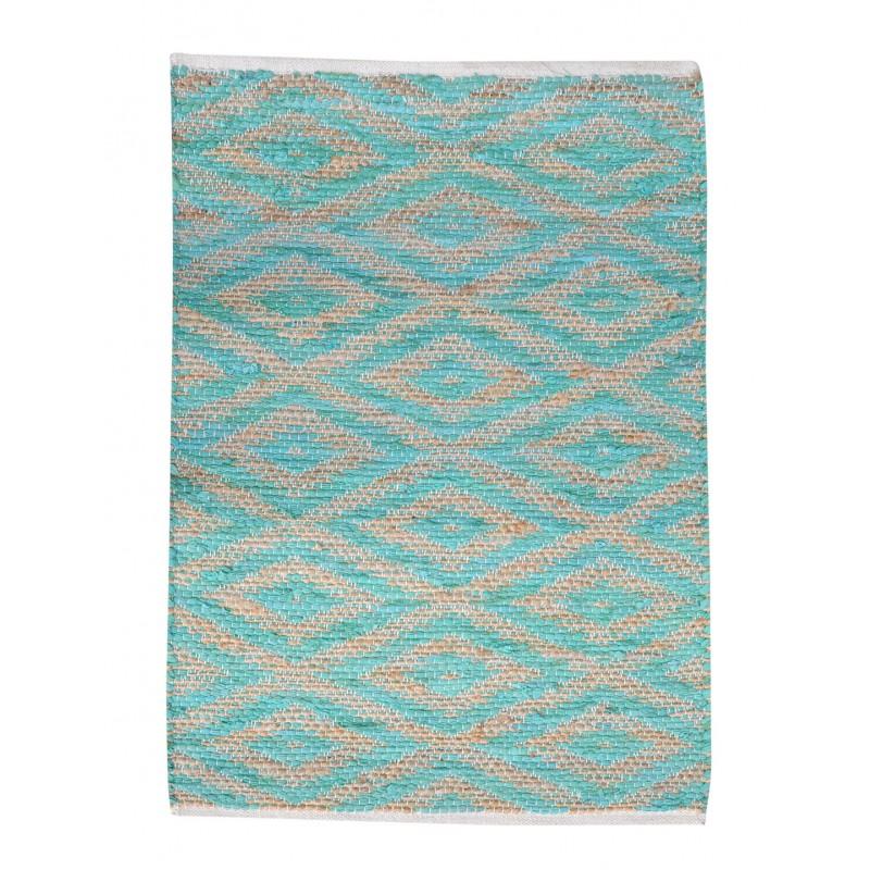 TAPIS BLEU TURQUOISE rectangulaire 60 x 90 COTON - motifs géométriques - LONA