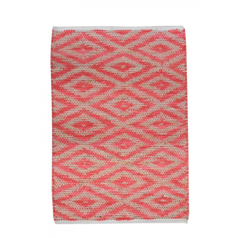 TAPIS ROUGE rectangulaire 60 x 90 COTON - motifs géométriques - LONA