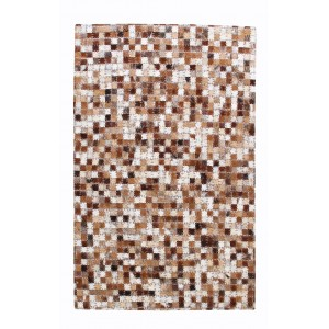 TAPIS IVOIRE/MARRON rectangulaire 60 x 90 - Patchwork Cuir - style moderne - LALI