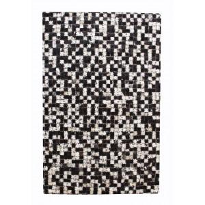 TAPIS IVOIRE/NOIR rectangulaire 60 x 90 - Patchwork Cuir - style moderne - LALI