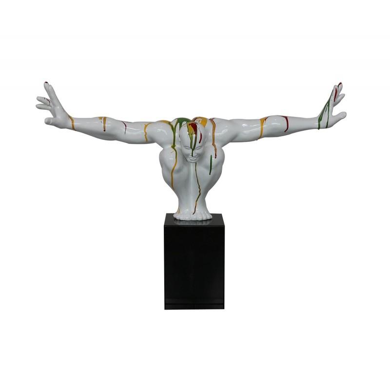 Statue homme plongeur posture bras tendus blanc multicolore - sculpture design contemporain - PLONGEUR